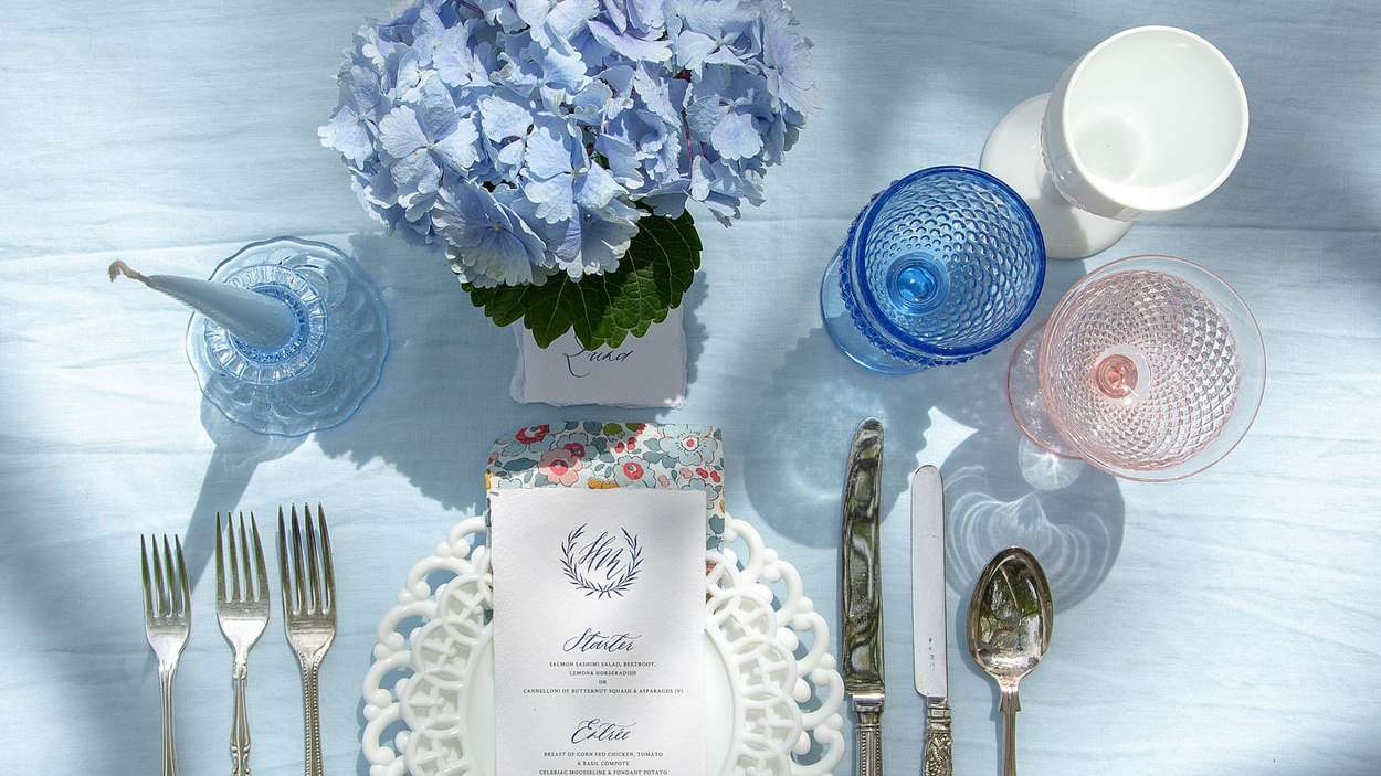 blue,white and rose depression glass for your wedding photograph by Bernard Bleach Photography